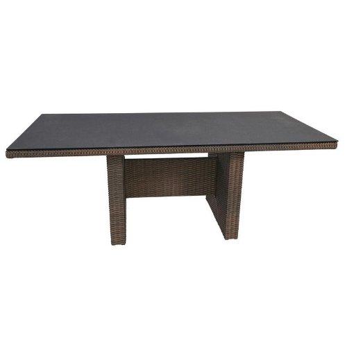 Rattan Gartentisch Soho Alu-Gestell braunes Geflecht Spraystone Platte 200x100cm