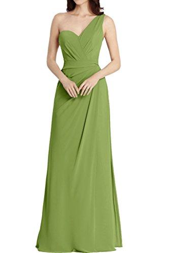 La_Marie Braut Hell Blau Einfach Ein-schulter Chiffon Abendkleider Brautjungfernkleider Partykleider A-linie Lang Olive Gruen