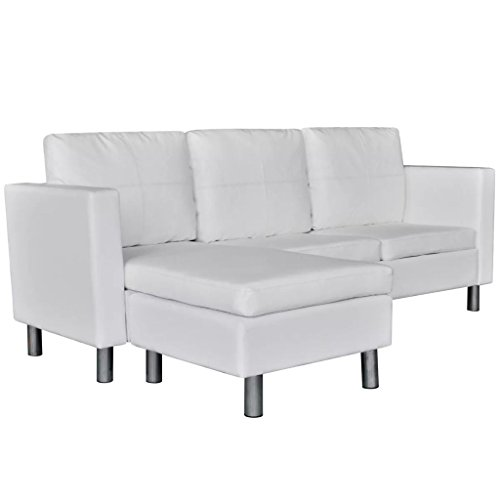 vidaXL Canapé d'angle 3 Places modulable Cuir Artificiel Blanc Canapé de Salon