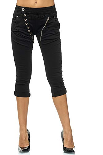 Elara Damen 3/4 Jeans | Kurze Capri Hose | Slim Fit | High Waist | Chunkyrayan C613P-15 Black-34 Black Stretch Capri Pants