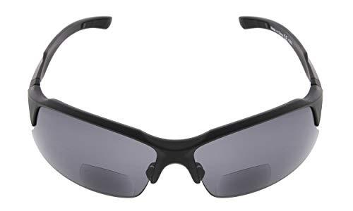 Eyekepper TR90 Unzerbrechliche Sport Bifocal Sonnenbrillen Baseball Laufen Angeln Fahren Golf Softball Wandern Halbrand Lesebrillen Matte Schwarz Frame Grey Lens +2.0