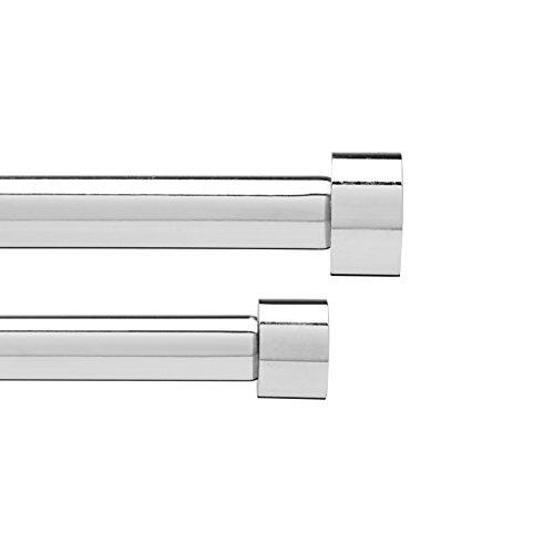 Umbra 245967-158 Cappa Doppel-Gardinenstange DB 1,9 cm, 182,6-365,7 cm, Chrom (Kurze Gardinenstangen Für Windows)