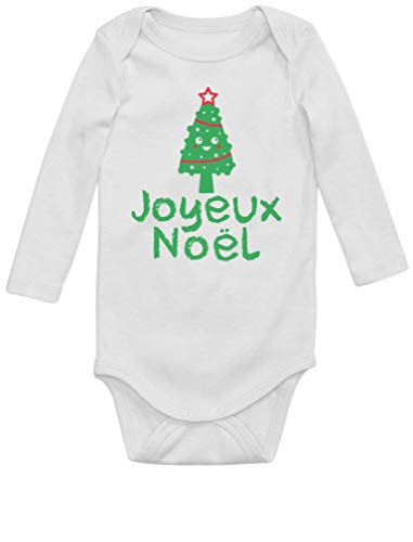 Green Turtle T-Shirts Joyeux Noël Sapin Body Unisexe Cadeau bébé Body Bébé Manche Longue 6M Blanc