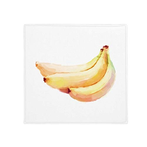 DIYthinker Banana Fruit Aquarelle Illustration Motif antidérapant Tapis de Pet de Sol carré de Salle de Bain Salon Cuisine Porte 60/50 cm Cadeau, Polyester filé, Multicolore, 60X60cm