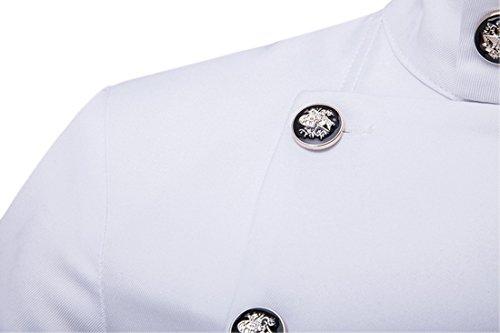 Männer Gentleman Art Earle Stand Kragen Doppel-breasted Anzug Blazer Weiß
