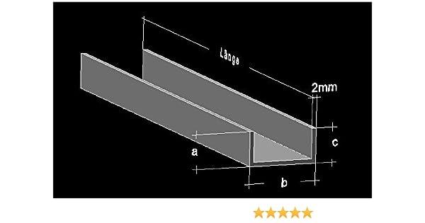 Sehr Alu U-Profil 40 x 40 x 40 x 2,0 mm Aluminium AlMgSi0,5 U-Stab BD72