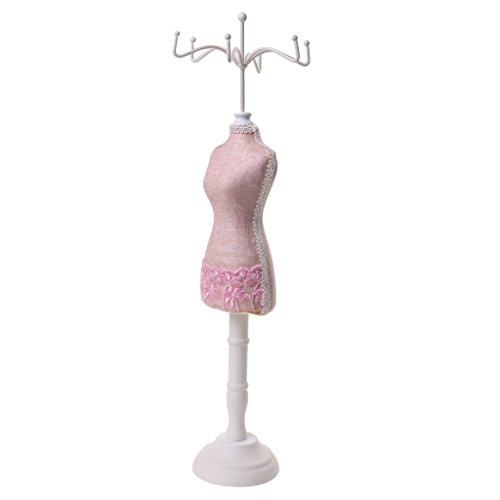 Harz Schmuckständer Mannequin/Schaufensterpuppe, Modellform, Weihnachten, Geburtstag, Idee als Geschenk - Rosa Spitze -