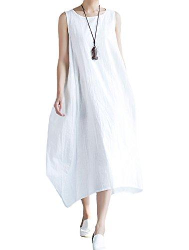 MatchLife Damen Leinenkleid Ohne Arm A-Linie Kleid Maxi Sommerkleid  Armellos Leinen Tunikakleid Weiß M f2b2217800