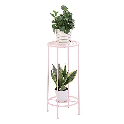 Soporte de flor de hierro, Marco de almacenamiento de decoración Tenedor de sembradora para interiores de interior En maceta de aterrizaje Soporte de planta de piso nórdico Soporte ( color : Pink )