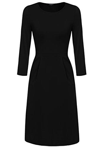 Zeagoo Damen Casual 3/4 Ärmeln Kleid Etuikleid A-Linie Kleid Rundhals, Schwarz_1, EU 44(Herstellergröße:XXL)