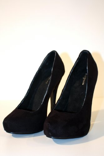 Erogance Velour Plateau High Heels, Scarpe con plateau donna Nero (nero)