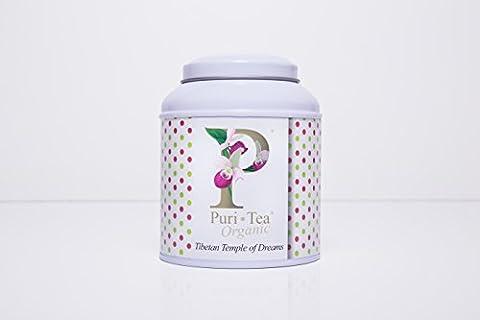 PURI TEA - TIBETAN TEMPLE OF DREAMS (Organic) - Loose Tea 100gr - White Domed Tin and outer gift box