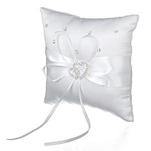 Deanyi 15 * 15cm Mini Hochzeit Ringkissen Double Heart Strass Kissen Bearer Weiß |Wohnaccessoires