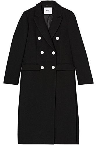 FIND Cappotto Doppiopetto Donna, Nero (Black), 52 (Taglia Produttore: 3X-Large)