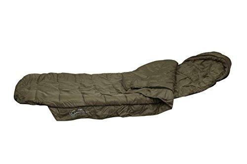 Fox Warrior Sleeping Bag Schlafsack für Angler zum Karpfenangeln & Nachtangeln, Angelschlafsack, Anglerschlafsack Fox Chunk Crew Pouch Sweatshirt Green Marl Pullover