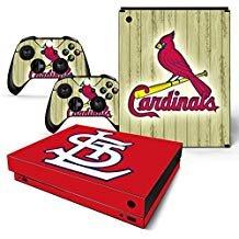 FriendlyTomato Skin für Xbox One X Konsole und Wireless Controller, Vinyl, Baseball MLB (St Cardinals-aufkleber Louis)