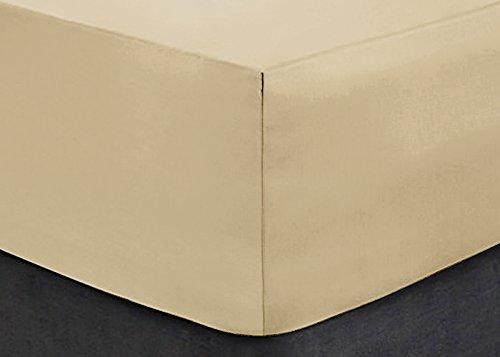 Divine Textilien® Easy Care Extra tief Spannbetttuch 40,6cm/40cm, beige, Small Double 4 Feet