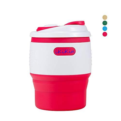 IKiKin tragbare zusammenklappbare Silikon-Wasser-Flasche Kaffee-Tee-Milch-Schalen BPA-freie Leck-Beweis 350ML 11.8fl Unze für Hauptaussende-kampierende Rucksack-Wandern Schule Büro-Reisen (Pink)