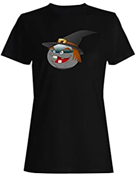 Smiley travieso halloween cara novedad divertido arte camiseta de las mujeres a258f