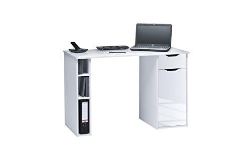 Maja  Schreib- und Computertisch Hochglanz, Abmessungen, Holz, 115 x 50 x 75 cm, weiß