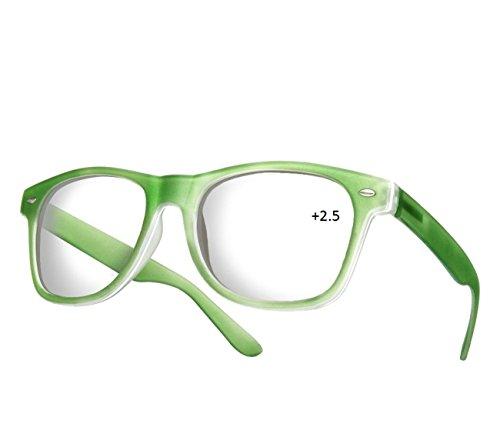 NEW (Damen Herren) Retro Vintage Lesebrille +2.5 Brille UV400 Protection Morefaz(TM) (Lesebrille +2.5 grün)
