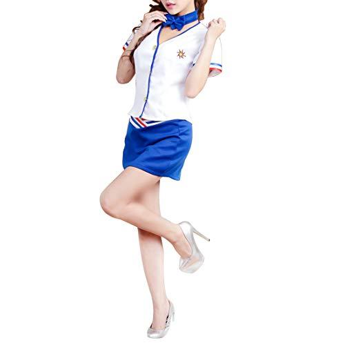 Yammucha Sexy Dessous Temperament Lady Stewardess Sailor Polizei Anzug Uniform OL Professional Wear DS Show Uniform (Color : Blue)