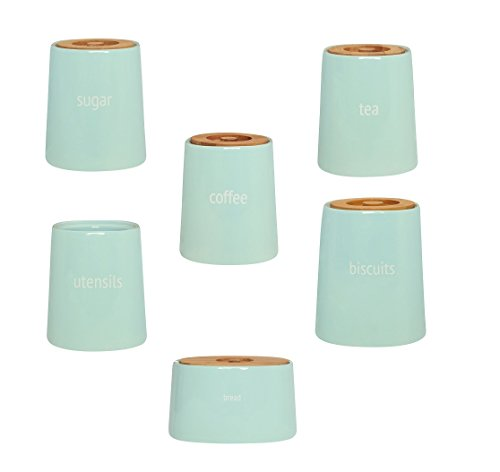 Complete Range Of Fletcher Canister Kitchen Storage Jars Blue Ceramic With Bamboo Lid (Complete Set)