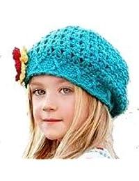 LadyMYP©Handgemachte Strickmütze, Babymütze, Kindermütze, Hüte, 100% Wolle, blaue Mütze mit roter, gelber und weißer Blume