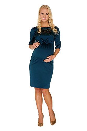 My Tummy Mutterschafts Kleid Umstands Kleid Marion grün Spitze Schleife - 2