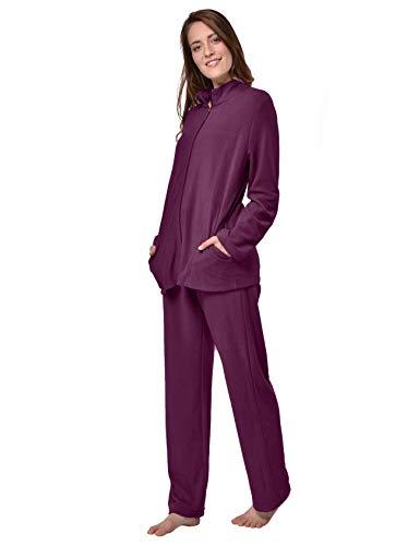 RAIKOU Damen Hausanzug Elegant Volltonfarbe Micro-Fleece Schlafanzug Freizeitanzug Hausanzug mit Reißverschluss (44/46,Granat)
