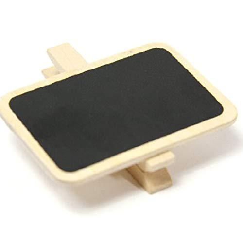 Preisvergleich Produktbild InisIE 10pcs Mini Wooden Blackboard Clamps Note Retangle Chalkboard Clip Tag Message Board for Wedding Party Paper Photo DIY