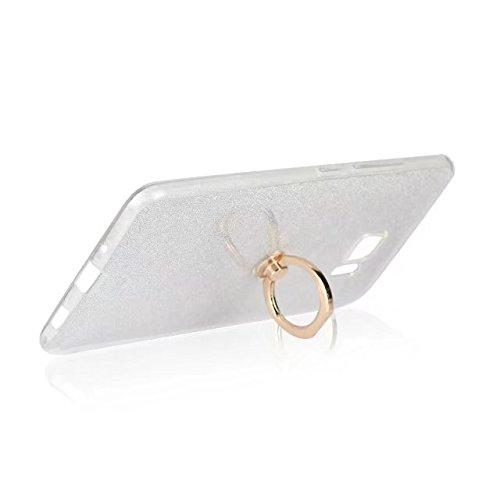 Luxus Bling Sparkle Style Case, Soft TPU [Silikon] Flexible Glitzer Rückentasche mit Fingerring Stand [Anti Scratch] [Shockproof] für HTC U Ultra ( Color : Black ) White
