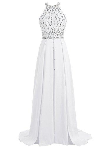 Bbonlinedress Robe de cérémonie Robe de soirée emperlée dos nu avec traîne Blanc