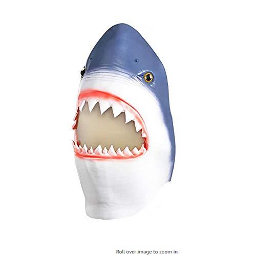 WDS Halloween-Maske Latex WIG Riesen-Zahnhai-Neuheit Halloween Kostüm Party Maske Lustige Latex Tier Kopfbedeckung