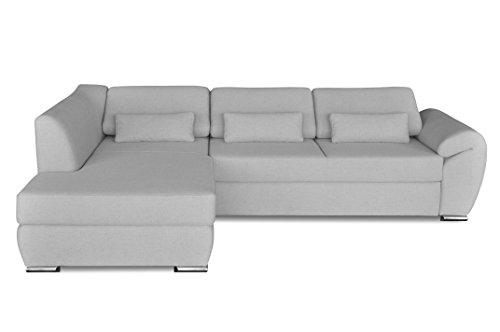 Windsor & Co Gauche Convertible Canapé d'Angle, Tissu, Gris Clair, 267 x 186 x 76 cm