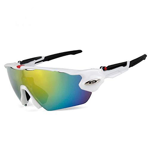 KTZLL Radfahren Brille Outdoor Polarisierte Reitbrille Sport Mountainbike Fahrrad Winddichte Brille, White Frame red Metal Black Foot Cover