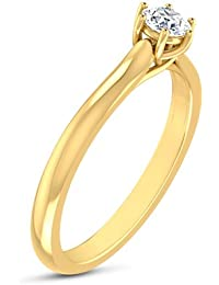 Kaizer Economica Solitaire Gold Plated American Diamond Ring/Band DS-04 For Women/Girls