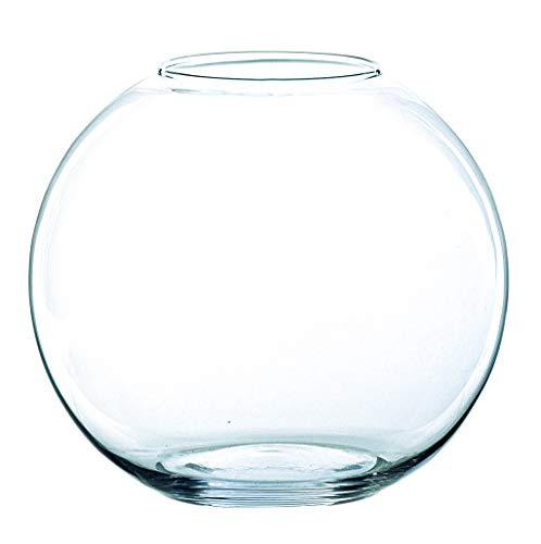 INNA Glas - Jarrón Redondo Tobi de Cristal, Transparente, 10 cm, Ø 12