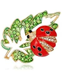 TBOP PIN Cartoon Natural Cute Alloy Diamond Drop Maple Leaf Seven Ladybug Brooch Size 2.7 * 4.1cm In Green And...