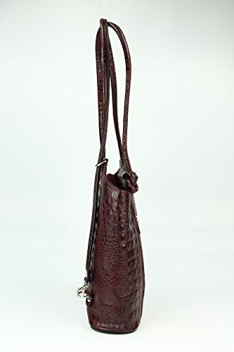 BELLI ital. Ledertasche Belli Backpack 2in1 Damen Rucksack Leder Handtasche Schultertasche - Freie Farbwahl - 28x28x8 cm (B x H x T) Braun kroko (kastanienbraun)