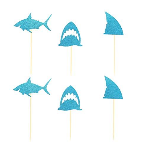 Amosfun 24 stücke Shark Cake Topper Blau Glitter Cupcake Topper Papier Obst Picks Dessert Dekorative Lieferungen für Kinder Geburtstag Baby Shower Shark Party (Toppers Cupcake Shark)