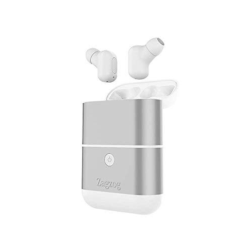 Zagzog Auriculares Bluetooth Inalámbricos Impermeable IPX5 Cargador Portátil de 1600mAh Mini Manos Libres Estéreo Micrófono y Cancelación de Ruido CVC6.0 Compatible con Iphone/Android  Plata
