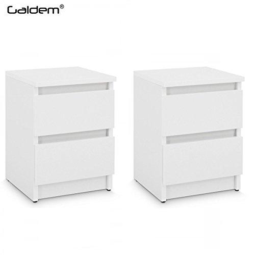 2x Nachttisch mit 2 Schubladen Nachtkommode Nachtkonsole Beistelltisch Nachtschrank Weiß