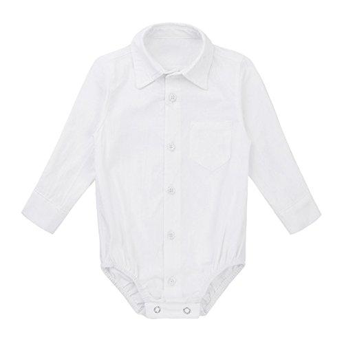 Tiaobug Baby Hemd-Body Langarm mit Kragen Strampler Baby-Jungen Hemd festlich Bodysuit Anzug Hemd für Hochzeit Taufe Geburtstag Geschenk Sommer Kleidung Weiß 68/Brustumfang 52cm