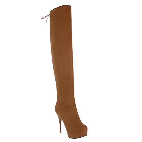 MissSaSa Femmes Bottes Cuissarde Chaussures Suede Talons Aiguille (44 EU, Noir)