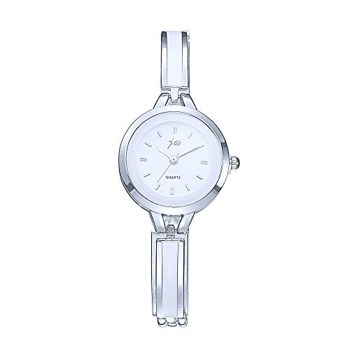 Damenuhren Schmal Armband-Uhr, Nail-Skala Silber Armreif Mode Elegant Armbanduhren für Damen