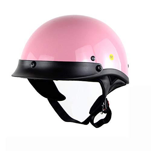 DYM258 Motorrad Harley Half Face Jet Helm DOT genehmigt Retro Persönlichkeit Bike Cruiser Helme Halbe Helme Halb bedeckt Erwachsener Mann-Helm(Rosa),L -