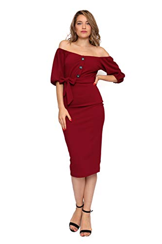Aarzoo Damen Bardot Midiknopf Detail Figurbetontes Kleid (36, Burgundy) - Details Damen Kleid
