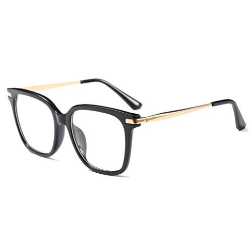 FLLH frauen brillen frame literarische retro - klassische schildkröte gläser mit einfachem linse size 0 (Black)