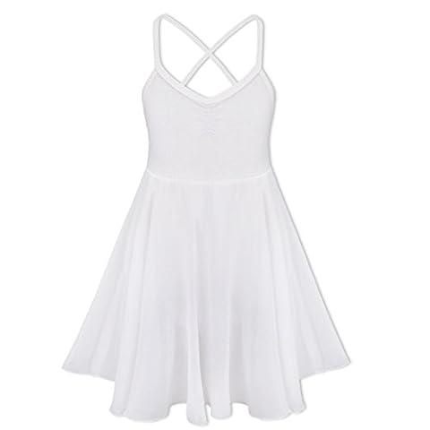 iEFiEL Justaucorps de Danse classique Fille T shirt Extensible Robe Sans Manches Mousseline Camisole Enfant 2-10 Ans Blanc 2-3 ans